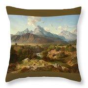 View To Watzmann And Hochkalter Throw Pillow