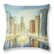 View Up The Chicago River Throw Pillow