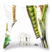 View With Bell Tower Throw Pillow