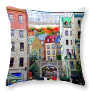 Viewing A Mural At La Fresque Des Quebecois Throw Pillow