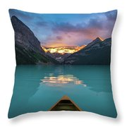 Viewing Snowy Mountain In Rising Sun From A Canoe Throw Pillow