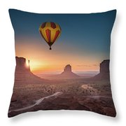 Viewing Sunrise At Monument Valley Throw Pillow