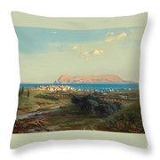 Views Of Algeciras On The Rock Of Gibraltar Throw Pillow