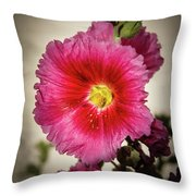 Vignetted Hollyhock Throw Pillow