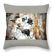 Vignettes - Indigo Winter Berries Throw Pillow