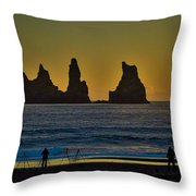 Vik Sea Stacks At Dusk - Iceland Throw Pillow