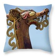 Viking Ship Dragon Head Throw Pillow
