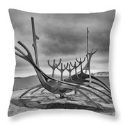 Viking Ship Sculpture Throw Pillow