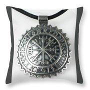 Viking Vegvisir Rune Calendar Sterling Silver Pendant Throw Pillow
