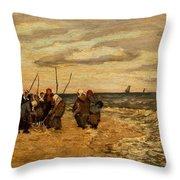 Viktor Ivanovich Zarubin Russian 1866  1928 Fisherwomen In Normandie Throw Pillow