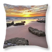 Gale Beach At Sunset. In Algarve Throw Pillow
