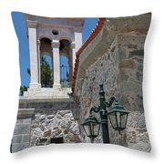 Village Church In Greece Throw Pillow