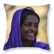 Village Girl Throw Pillow by Atul Daimari