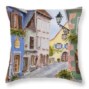 Village In Alsace Throw Pillow