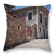 Village In Greece Throw Pillow
