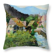 Village In The Austrian Alps Throw Pillow