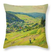 Village In The Foothills Throw Pillow