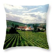 Village In The Vineyards Of France Throw Pillow