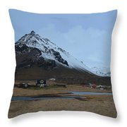Village Of Arnastapi At The Base Of Mount Stapafell Throw Pillow