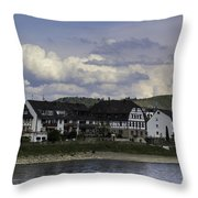 Village Of Spay And Marksburg Castle Throw Pillow