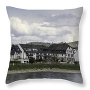 Village Of Spay Germany And Marksburg Castle Throw Pillow