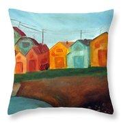 Village On The Coast Throw Pillow