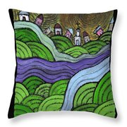 Village On The Hill Throw Pillow
