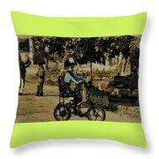 Village Rides Throw Pillow