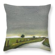Village Road In The Twilight  Throw Pillow