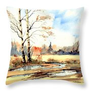Village Scene I Throw Pillow
