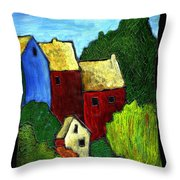 Village Scene Throw Pillow