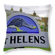 Village Sign - St Helens Throw Pillow