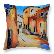 Village Street In Tuscany Throw Pillow