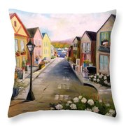 Village Street Throw Pillow