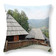 Village With Wooden Cabin Log On Mountain Throw Pillow
