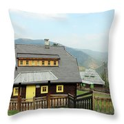 Village With Wooden Houses On Mountain Throw Pillow
