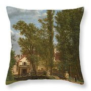 Villagers And Animals In A Landscape Beside A Bridge At The Entrance Of A Village Throw Pillow