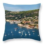 Villefranche-sur-mer And Cap De Nice On French Riviera Throw Pillow