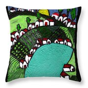 Villlage By The Pond Throw Pillow