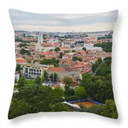 Vilnius Panorama From The Hill Of Three Crosses Throw Pillow