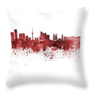 Vilnius Skyline In Green Watercolor On  White Background Throw Pillow