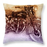 Vincent Black Shadow 2 - Standard Motorcycle - 1948 - Motorcycle Poster - Automotive Art Throw Pillow