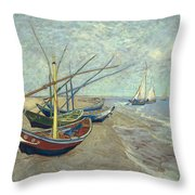Vincent Van Gogh  Fishing Boats On The Beach At Les Saintes Maries De La Mer Throw Pillow