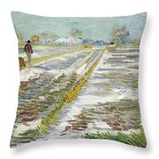 Vincent Van Gogh, Landscape With Snow Throw Pillow