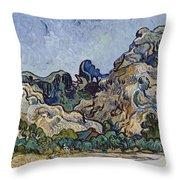 Vincent Van Gogh  Mountains At Saint Remy Throw Pillow