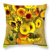 Vincent's Sunflowers Throw Pillow