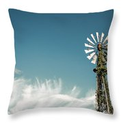 Vines Growing Up A Windmill In Canada Throw Pillow by Bryan Mullennix