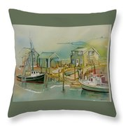 Vineyard Boats Throw Pillow