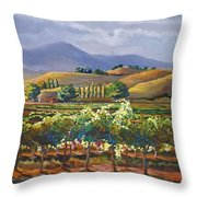 Vineyard In California Throw Pillow