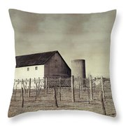 Vineyard In Winter Throw Pillow